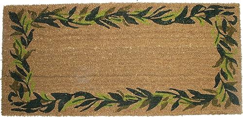DII Natural Coir Coco Fiber Non-Slip Outdoor Indoor, Welcome Doormat, 22×47, Bayleaves