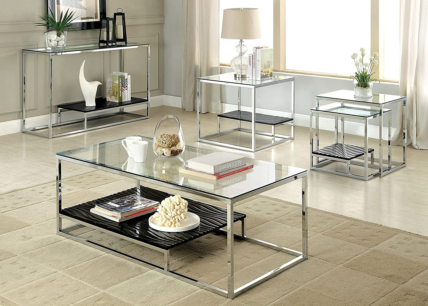Amazon.com: Furniture of America Gacelle Contemporary Glass Top ...