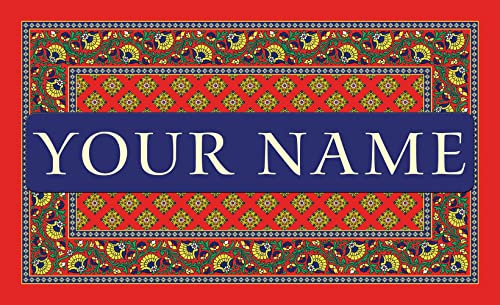 Toland – French Paisley- Red Personalized Customizable Indoor Outdoor Welcome Door Mat USA-Produced