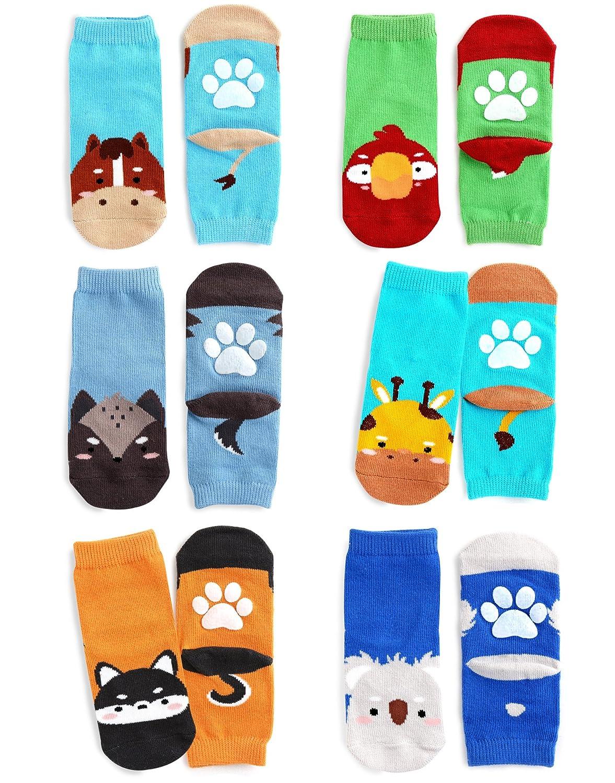 FreeShipping ZOO SOCKS Boys 6 Pack Animal Printed Anti-Slip Ankle Socks Boys Set 001
