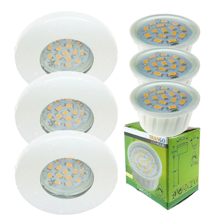 Trango®, set di faretti da incasso rotondo, IP44, con 3 moduli LED regolabili, da 6W e con solo 3cm di profondità d'incasso per il bagno e la doccia, Tg6729ip-036mo Weiß, GX24d-1 2 3 6.0watts 230.00volts
