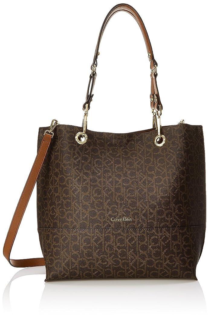 Calvin Klein Logo Tote Brown/Khaki/Luggage Saffiano