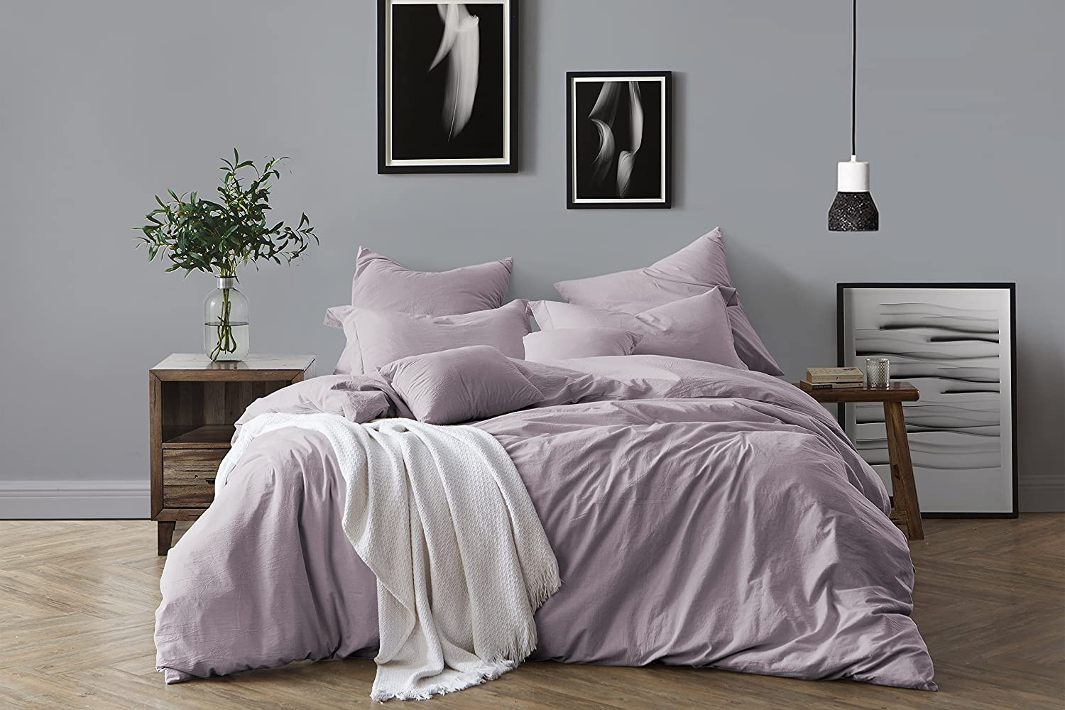 Swift Home 100% Cotton Washed Yarn Dyed Dusty Lavender Duvet Cover & Sham Bedding Set, Ultra-Soft Luxury & Natural Wrinkled Look – King/California King