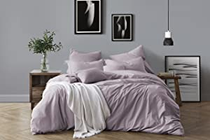 Swift Home 100% Cotton Washed Yarn Dyed Dusty Lavender Duvet Cover & Sham Bedding Set, Ultra-Soft Luxury & Natural Wrinkled Look – King/California King, Dusty Lavender