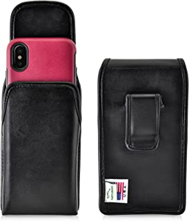 product image for Turtleback Holster Compatible with iPhone X w/Otterbox Commuter Symmetry case Black Vertical Belt Case Leather Pouch with Executive Belt Clip Made in USA
