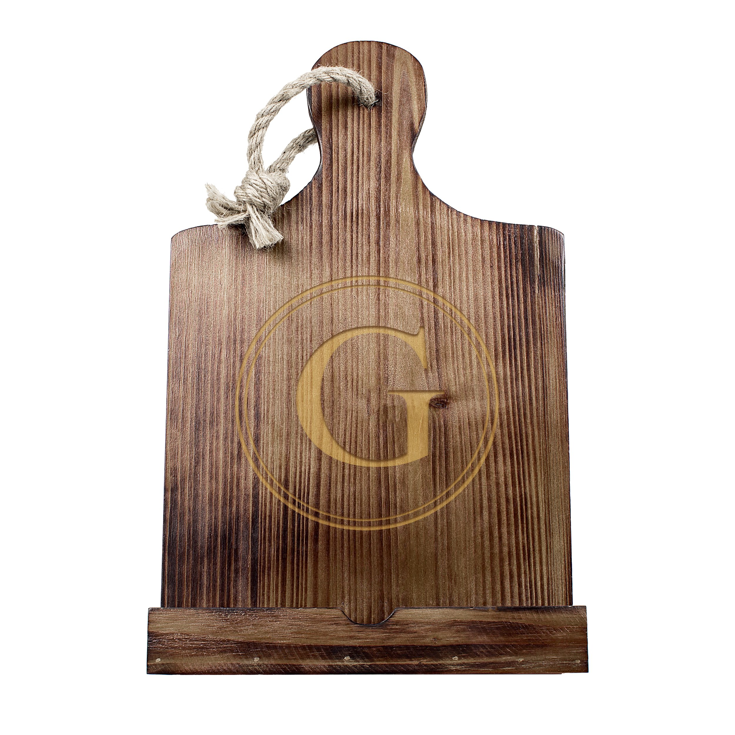 Cathy's Concepts Personalized Wooden iPad & Recipe Stand, Brown, Letter G