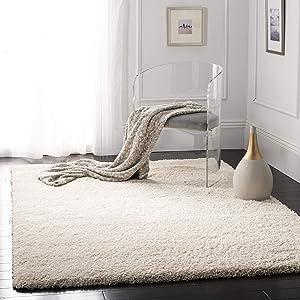 """Safavieh California Premium Shag Collection SG151-1212 Ivory Square Area Rug (5'3"""" Square)"""