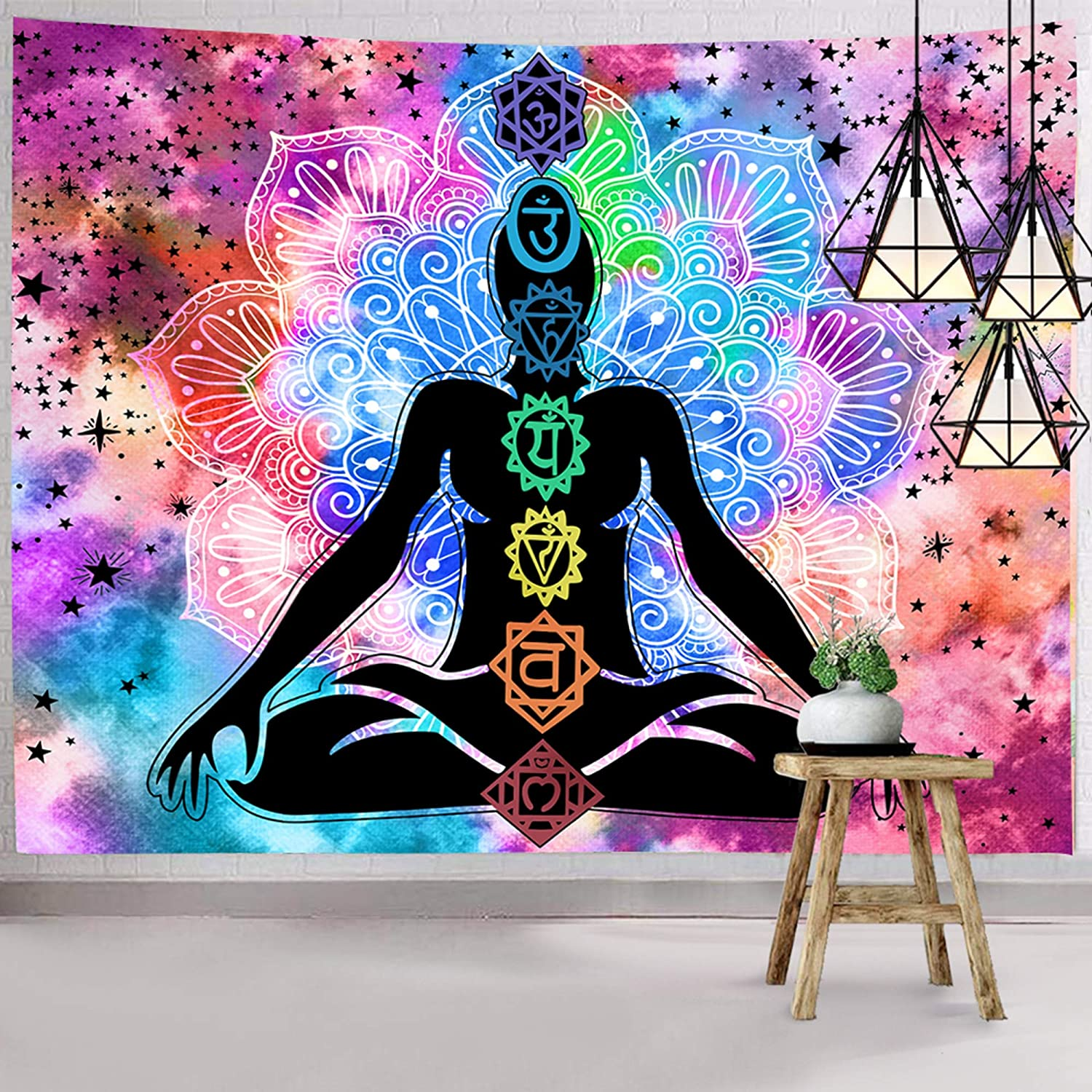 Hexagram Seven Chakra Tapestry Trippy Meditation Wall Tapestry Tie Dye Hippie Wall Art Yoga Wall Hanging for Dorm Room Decorations