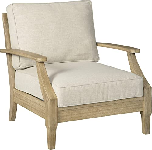 Signature Design by Ashley – Clare View Outdoor Lounge Chair with Cushion – Eucalyptus Frame – Beige