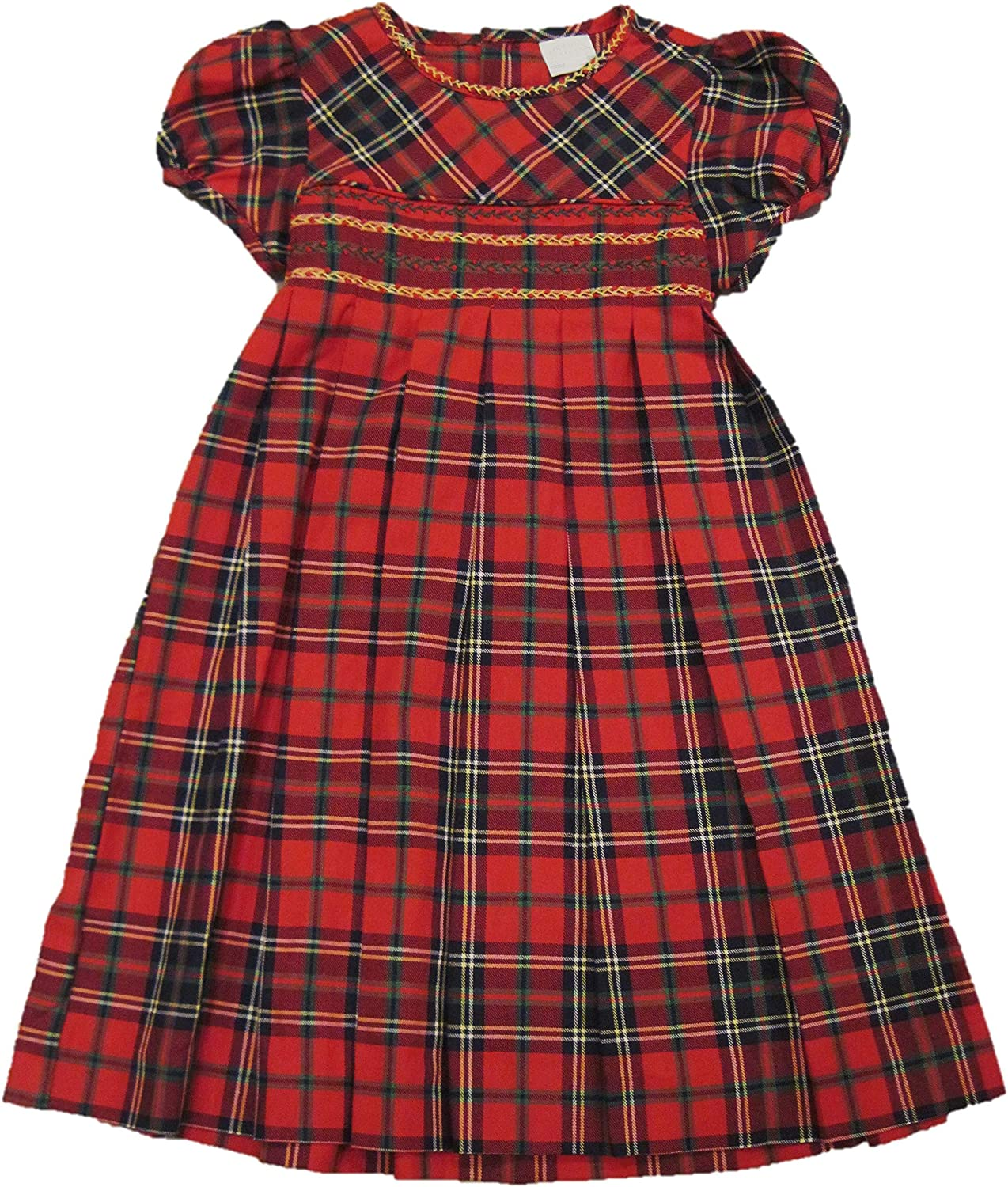 red cotton tartan plaid autumn LUDIVINE dress baby girl child white belt embroidered smocked Christmas, long sleeves 34 Winter