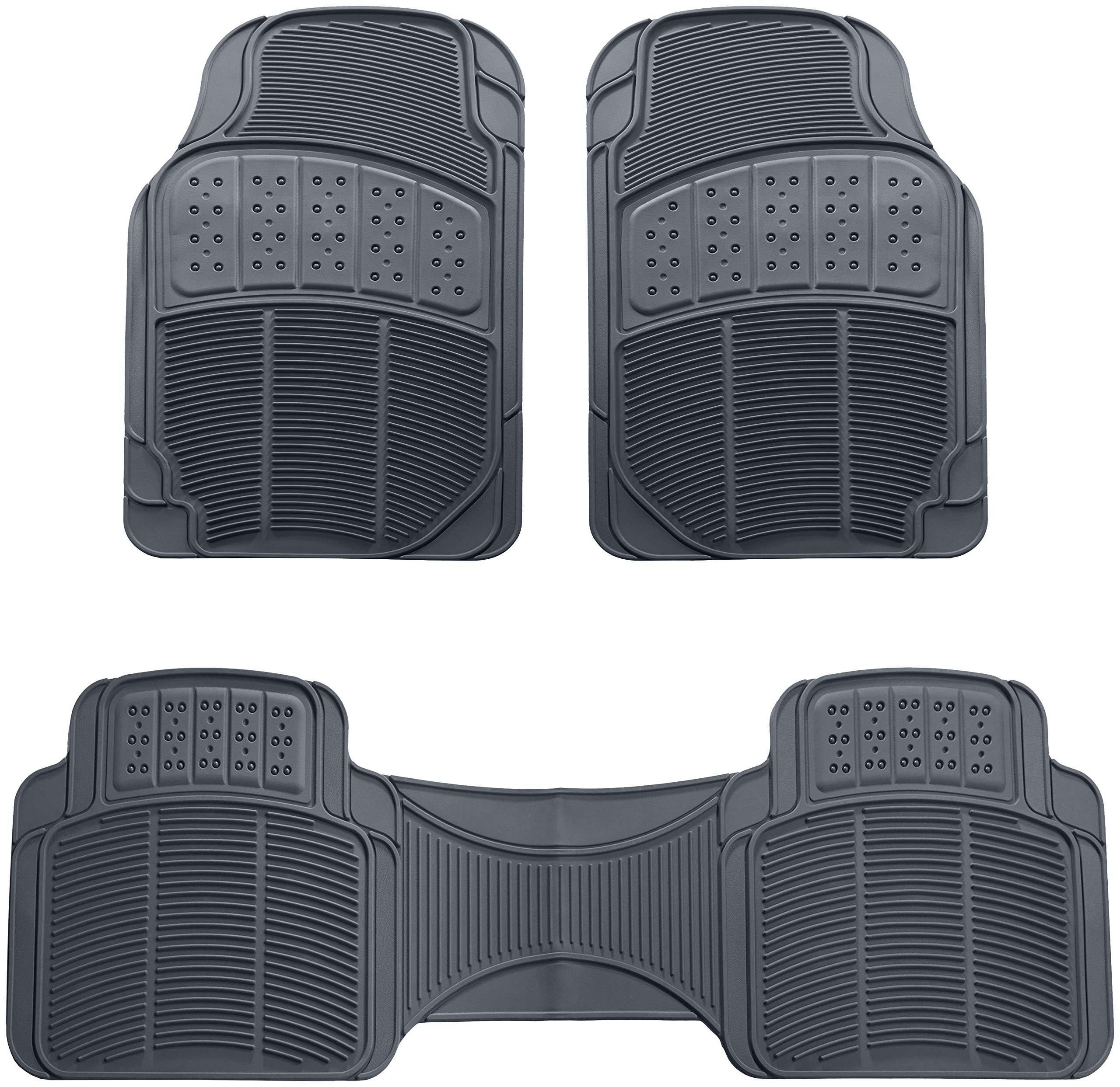 AmazonBasics 3 Piece Rubber Car Floor Mat, Grey by AmazonBasics