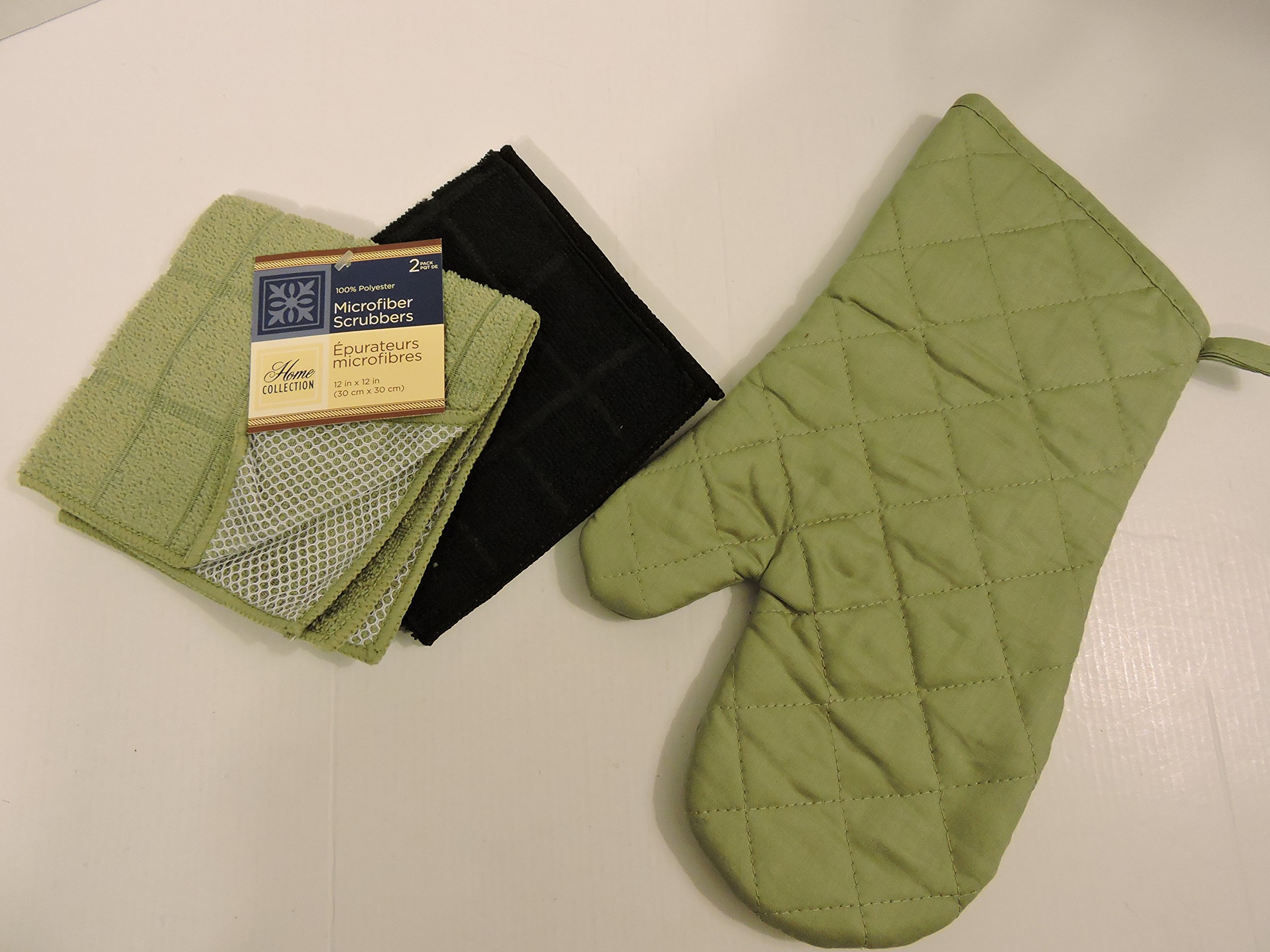 Bundle of Kitchen Linens by Home Collection Featuring: Kitchen Towels, Pot Holders, Oven Mitts, Dishcloths, Dish Drying Mat (7, Solid Green & Black)