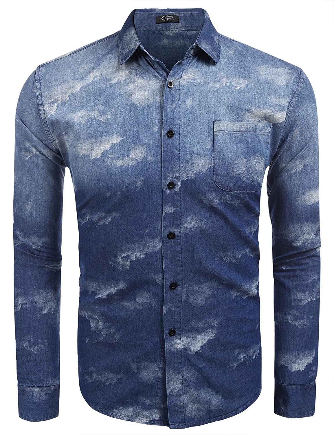 009a7a4376f COOFANDY Men s Camouflage Button Down Shirts Long Sleeve Camo Slim Fit  Dress Shirt at Amazon Men s Clothing store