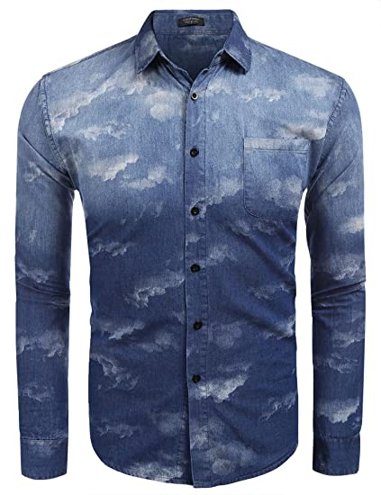 6044b4d3d4 Image Unavailable. Image not available for. Color  COOFANDY Men s  Camouflage Button Down Shirts Long Sleeve Camo Slim Fit ...