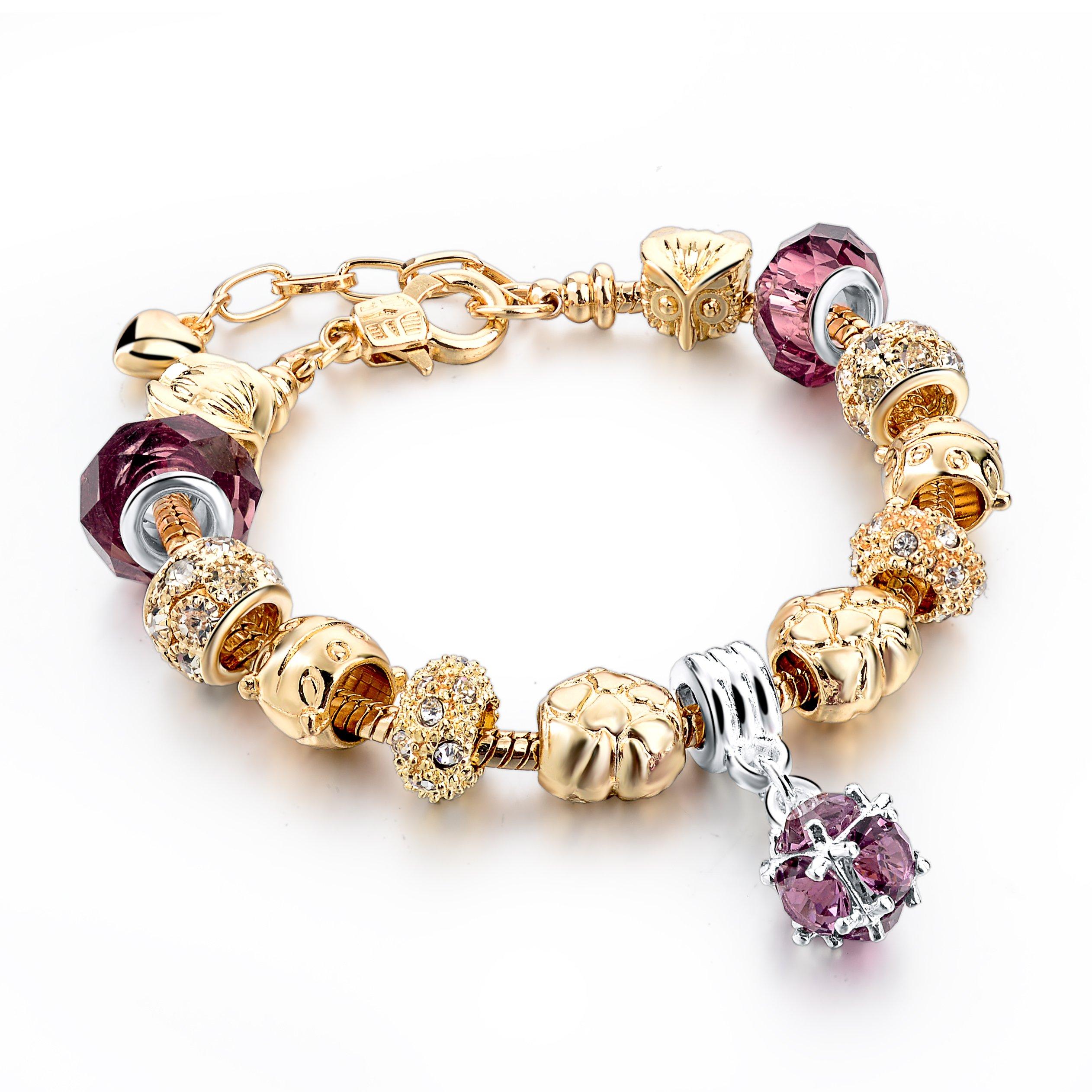 Long Way Gold Plated Snake Chain Bracelet Rhinestone Amethyst Crystal Birthstone Beaded Charm Bracelets Bangles for women Girls at Birthday