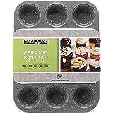 casaWare Ceramic Coated NonStick 12 Cup Muffin Pan (Silver Granite)