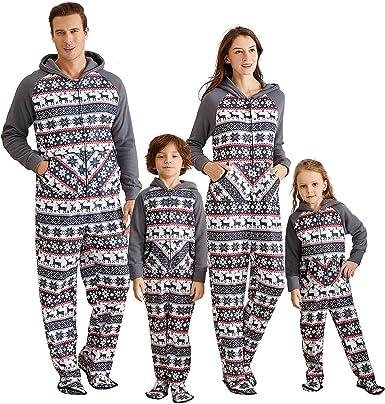 Yaffi Family Matching Pijamas Christmas Festival Pijamas con pie Sudadera con Capucha Mono Onesie para mamá Papá Niños Fleece Snowflake Sleeper PJs