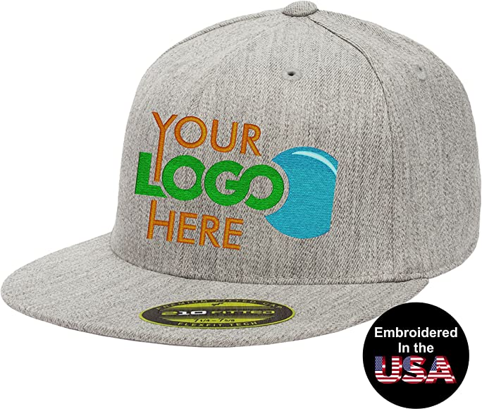 54001071 Personalized Flexfit 210 Cap. Custom Logo Hat. Embroidered. Fitted Flat  Bill (Heather