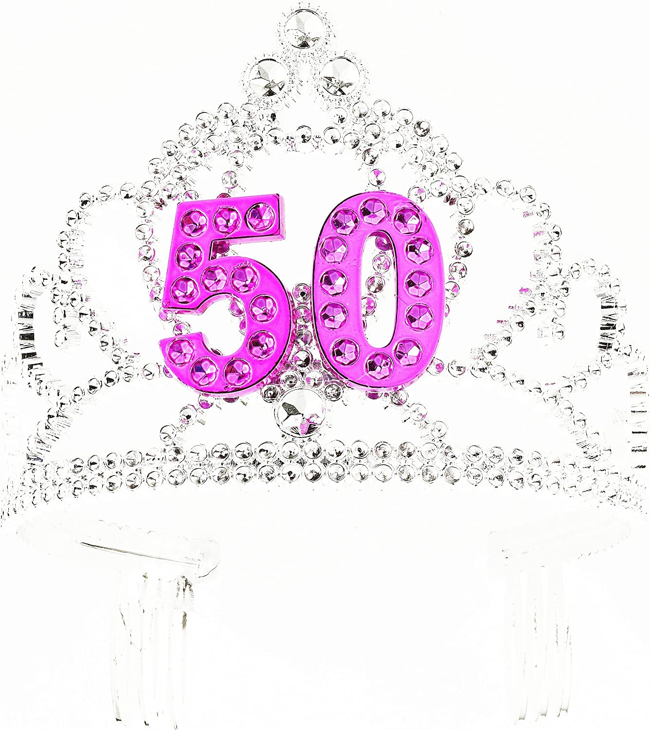 Forum Novelties Happy Birthday 50th Silver Pink Tiara