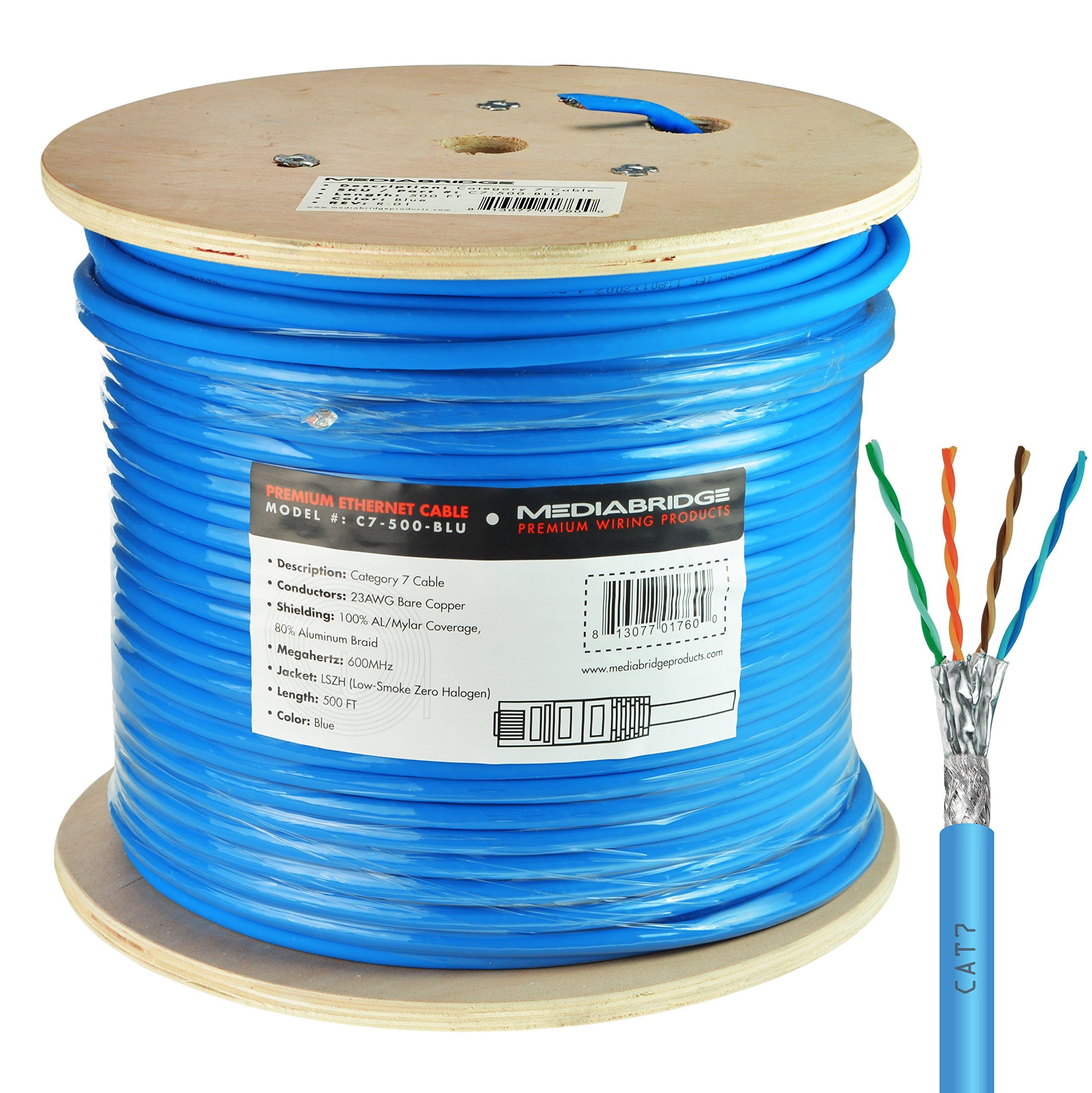 Mediabridge Solid Copper Cat7 Ethernet Cable (500 Feet, Blue) - Low-Smoke Zero Halogen Jacket (Part# C7-500-BLUE ) by Mediabridge