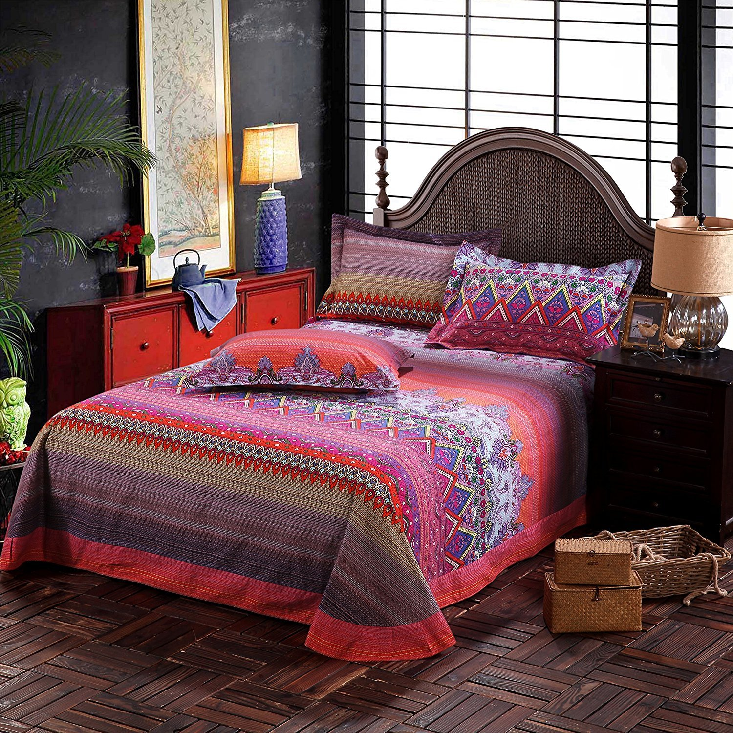 FADFAY Colorful Bohemian Ethnic Style Bedding Boho Duvet Cover Bohemian Sheet Sets Baroque Style Bedding 4 Pcs (Twin XL, Flat Sheet) by FADFAY (Image #3)