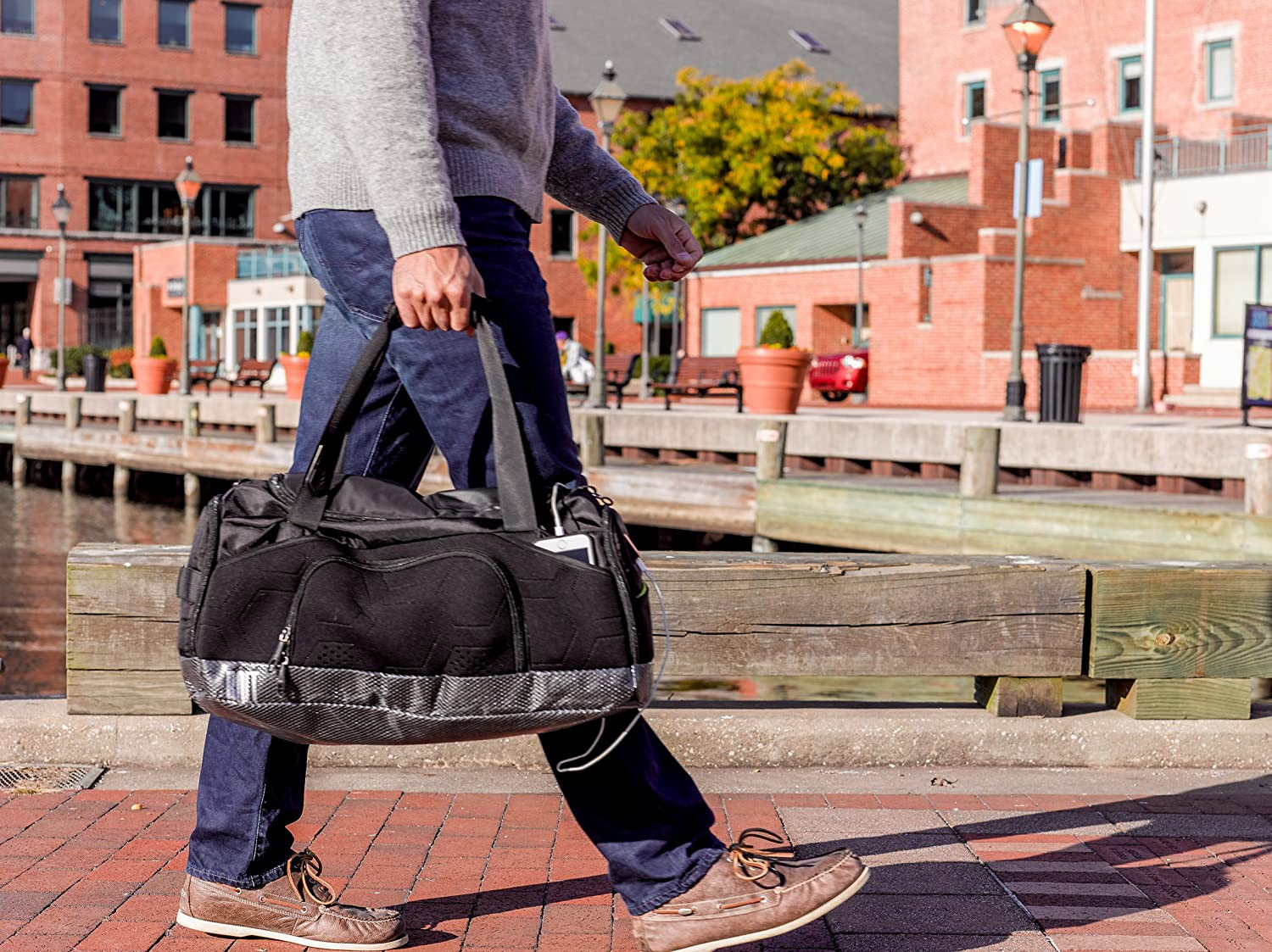DUF-B6-NY-BL Black with Lime M-Edge Duffel Bag with Battery