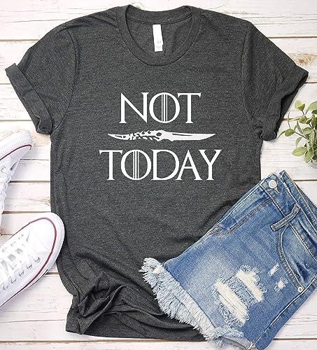 5f3589fb Amazon.com: Not Today Shirt, Game of Thrones, Arya Stark Gift Idea, Game T- Shirt, Short Sleeve, V-Neck, Long Sleeve: Handmade