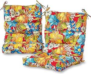 Greendale Home Fashions AZ6809S2-ALOHA-RED Aloha Crimson Outdoor High Back Chair Cushion (Set of 2)