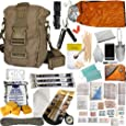 Get Home Bag with First Aid Kit, Water Filter, Food, Fire, Tools and Shelter. Ideal Compact Bug Out Bag, Earthquake Kit or Emergency 72 Hr Kit. Tactical Shoulder Bag Model