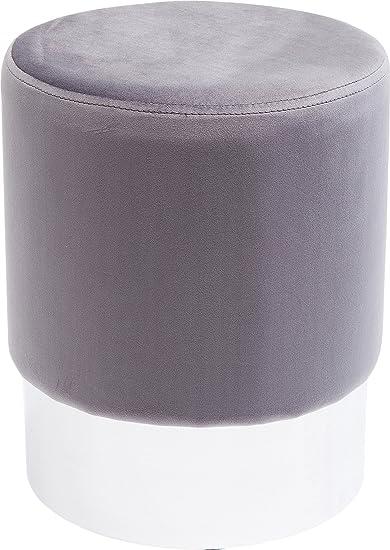Hocker Sitzhocker Beistelltisch flieder silber 35cm Samtstoff Fußhocker Ablage