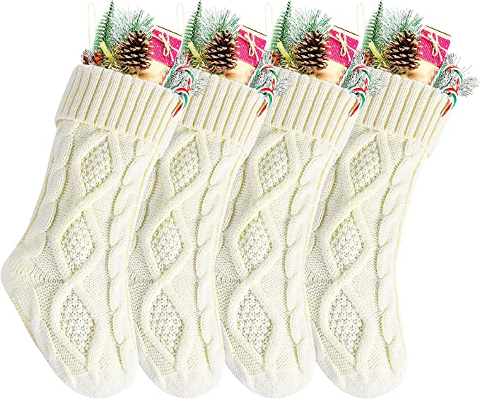 "Kunyida 14"" 4PCS Unique Ivory White Knitted Christmas Stockings,Style2"