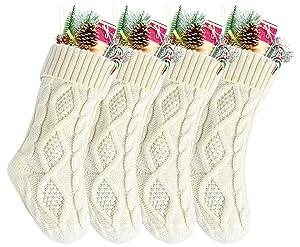 """Kunyida 14"""" 4PCS Unique Ivory White Knitted Christmas Stockings,Style2"""