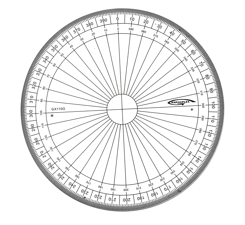 Graphoplex - Transportador circular (400 grados, sistema centesimal, 10 cm) GX110G