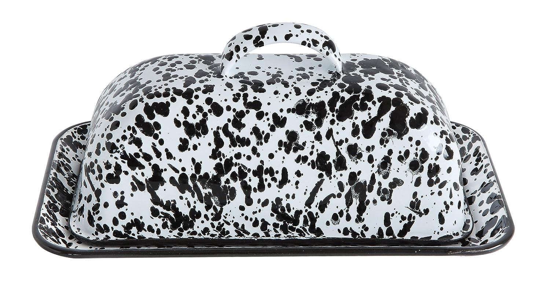 Creative Co-Op black Splatterware Enameled Butter Dish, Multicolor