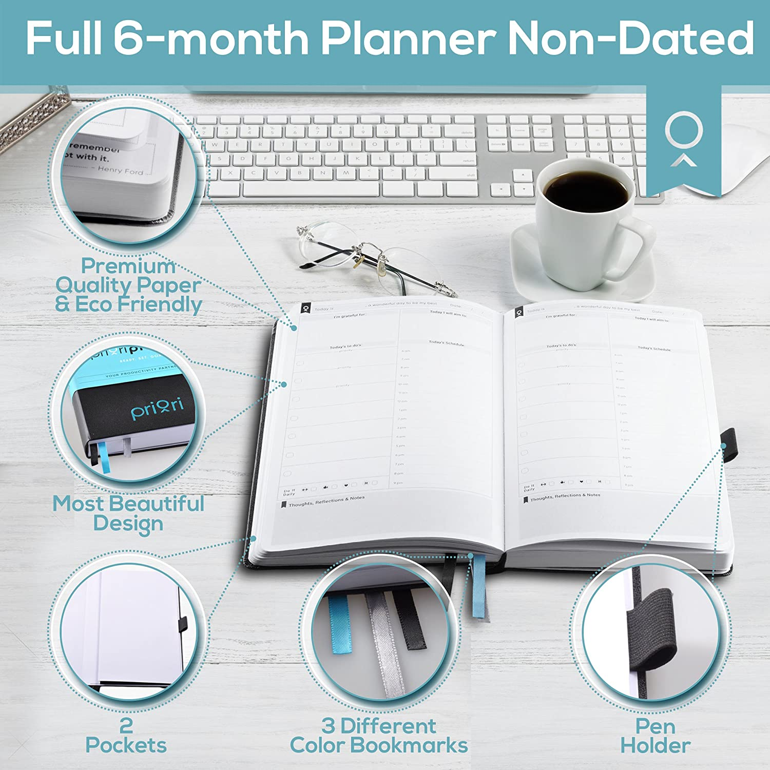 Priori Agenda Planner 2018 | 6 Month Personal Organizer For Productivity  And Happiness | Best Undated Daily Calendar, Weekly, And Monthly Sections  ...