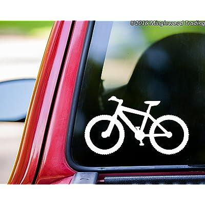 "Minglewood Trading Mountain Bike White Vinyl Decal Sticker 5.5"" x 3"" Biking MTB ATB Bicycle XC Downhill Cyclocross CX: Automotive"