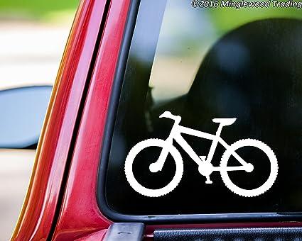 Mountain bike white vinyl decal sticker 5 5 x 3 biking mtb atb bicycle xc