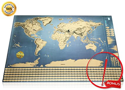 Amazon world explorer premium scratch off world map with world explorer premium scratch off world map with flags glossy finish free scratch gumiabroncs Choice Image