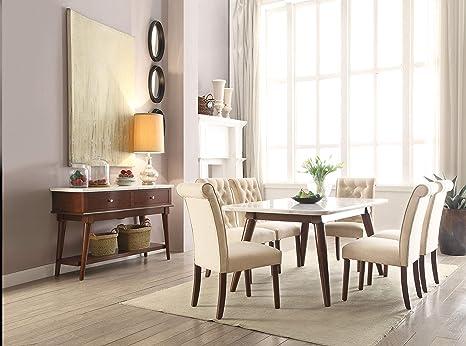 Amazon Com Acme Furniture Gasha Dining Table White Marble Walnut
