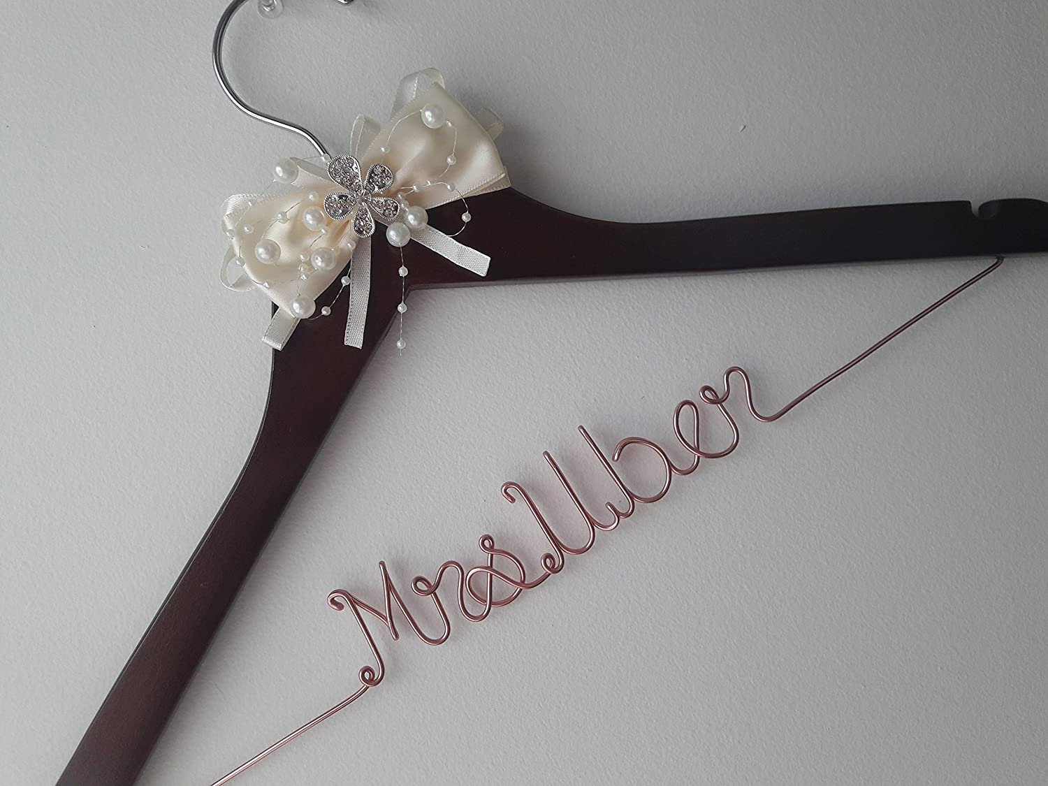 Wedding Hanger, One Line Personalized wedding hanger, Brides Hanger, Personalized Bridal Gift, Wedding Dress Hanger, Bridesmaid, With Ivory Bow, Rhinestone, Pearls, Rose Gold.
