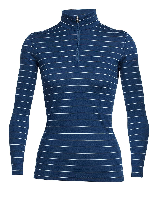 Largo Ice bleu Stripe XS Icebreaker Oasis Sous vêteHommest thermique hommeches longues 1 2 zip Femme