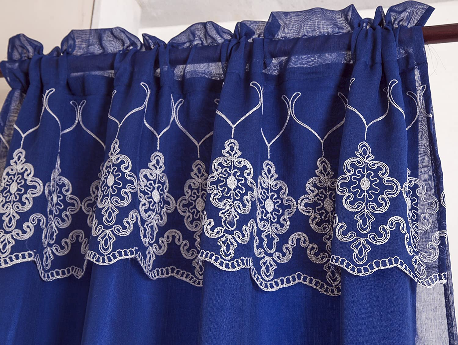 Blue Ramallah Trading Company Inc Rod Pocket Curtain Panel w//Attached 18 in Valance PNE09708 RT Designers Collection Emmett Embroidered 54 x 90 in