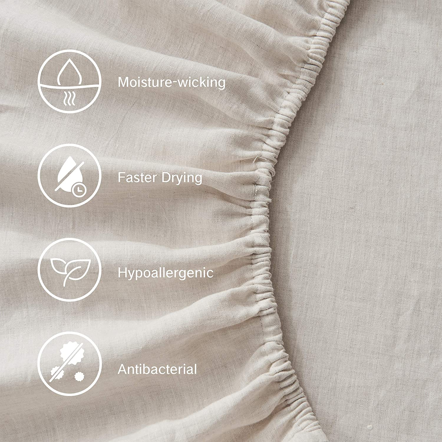 DAPU Pure Stone Washed Linen Sheets Set 100% French Natural Linen European Flax (Queen, Natural Linen, Flat, Fitted and 2 Pillowcases: Kitchen & Dining