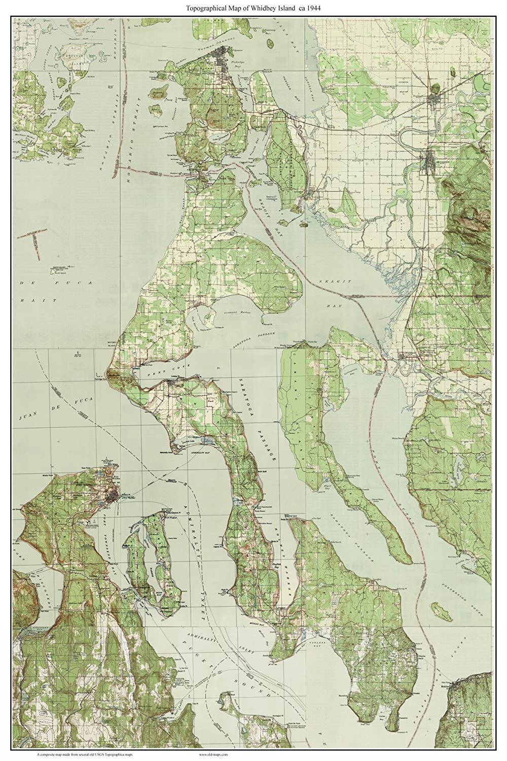 Amazon Whidbey Island ca 1944 USGS Old Topographic Map A