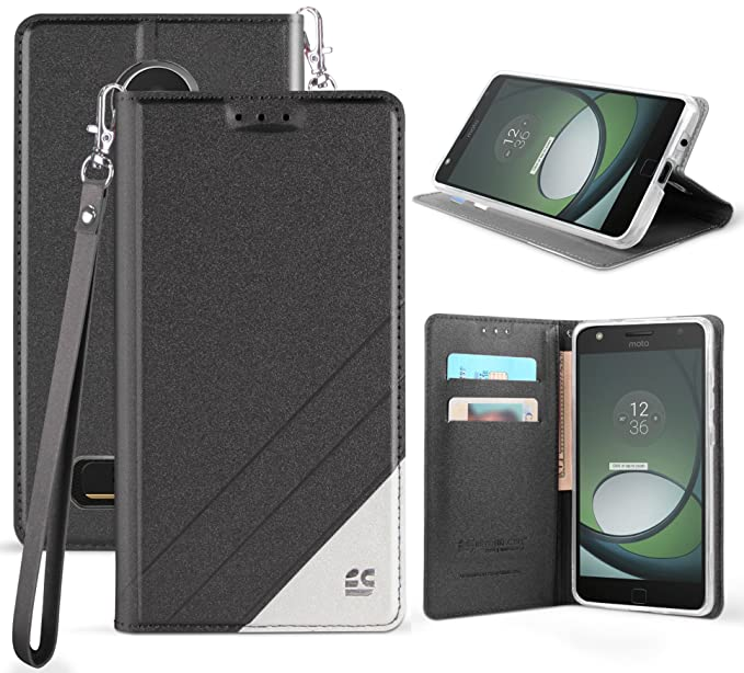 the latest 6c333 46a55 Moto Z2 Play/Force Wallet Case, Black Infolio Credit Card Slot Cover, View  Stand, Wrist Strap Lanyard for Motorola Moto Z2 Play/Force ...