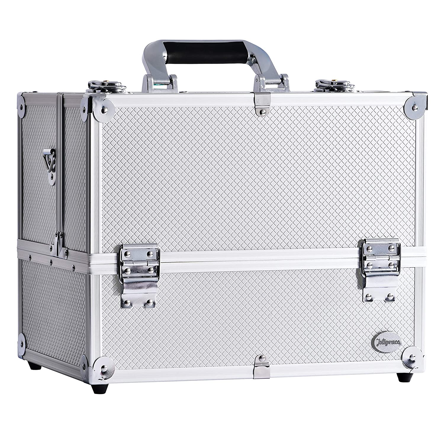 "14"" Makeup Train Case Large 6 Tray Professional Organizer Box - Cosmetic Make Up Carrier with Lock & Key Carrying Strap and Adjustable Dividers for Studio Artist & Stylist Silver"