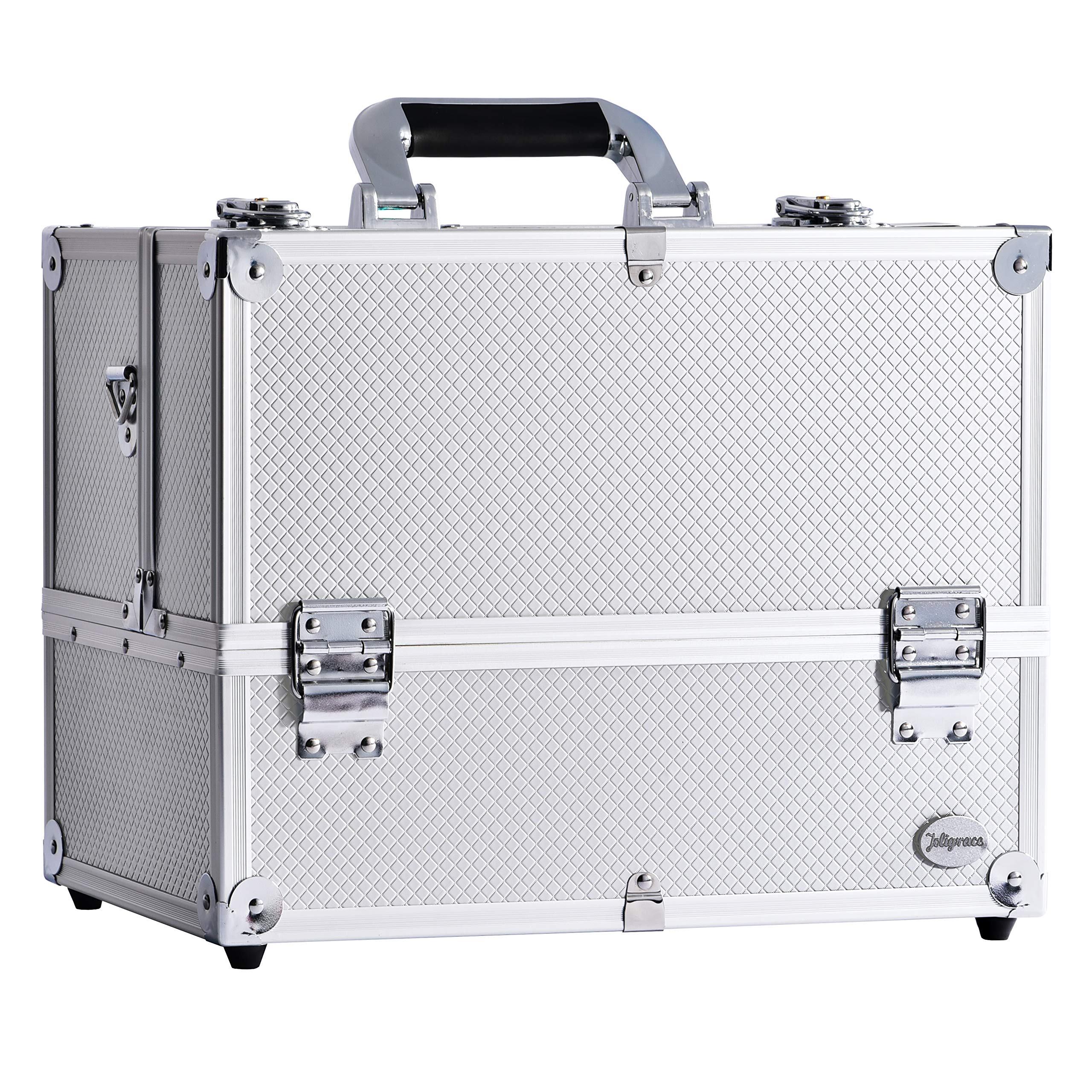 14'' Makeup Train Case Large 6 Tray Professional Organizer Box - Cosmetic Make Up Carrier with Lock & Key Carrying Strap and Adjustable Dividers for Studio Artist & Stylist Silver
