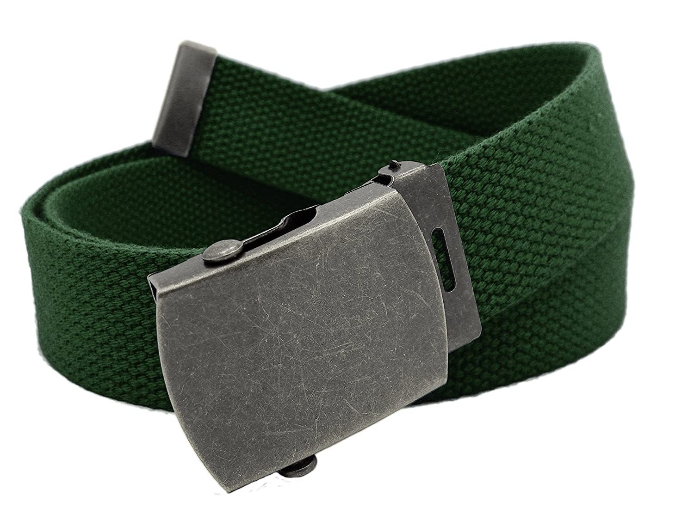 Boy's School Uniform Antique Silver Slider Military Belt Buckle with Canvas Web Belt 8010B-$P