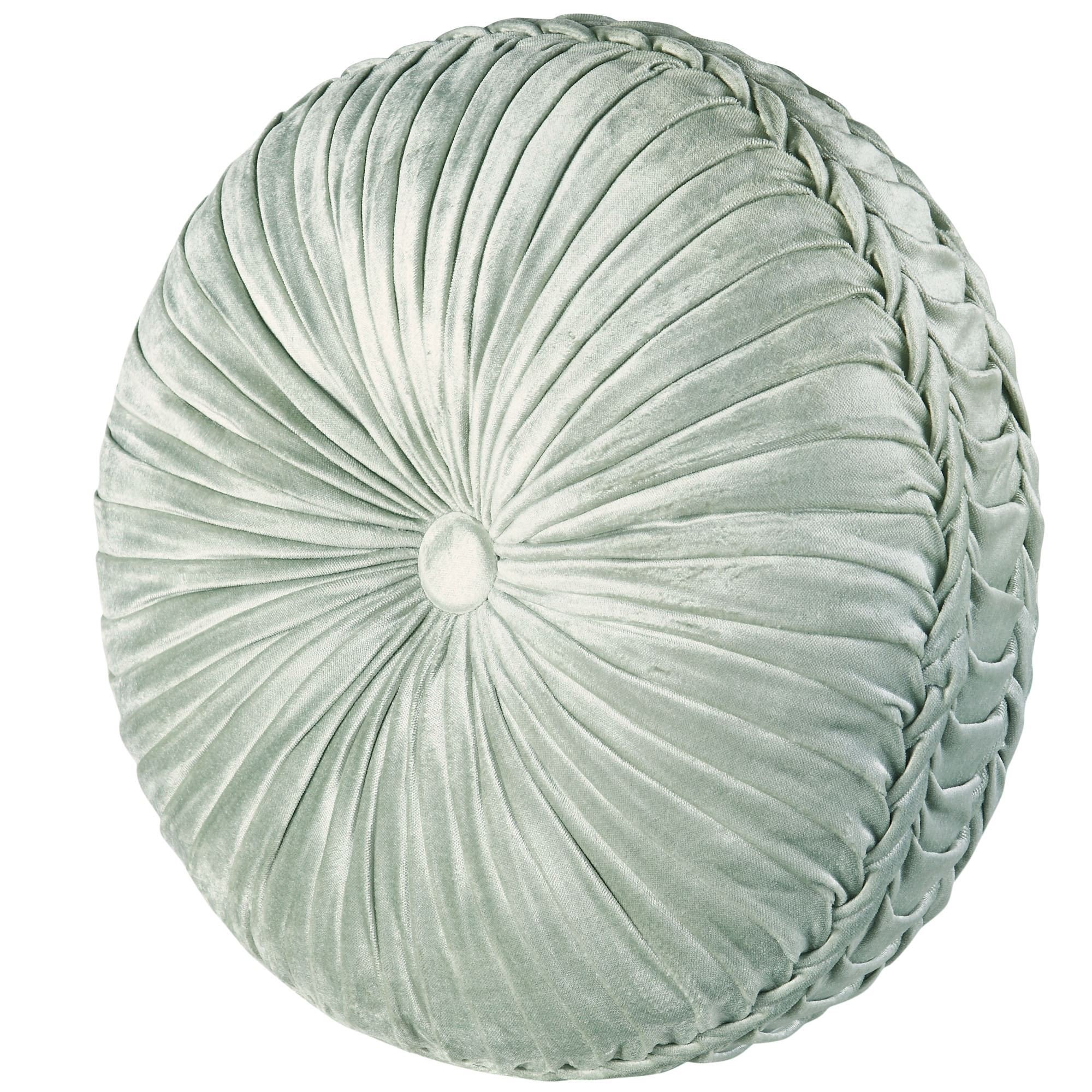 J. Queen New York Romance Tufted Round Pillow in Spa