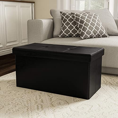 Lavish Home Large Foldable Storage Bench Ottoman Tufted Faux Leather Cube Organizer Furniture